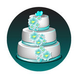 Wedding cake with flowers. White wedding cake with blue flowers isolated royalty free illustration