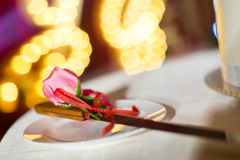 Wedding Cake and forks Royalty Free Stock Photo