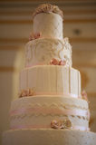 Wedding cake. A four tiered Wedding cake at the bakery Royalty Free Stock Images