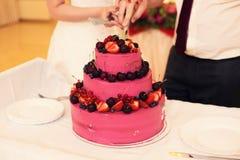 Wedding cake with fruit. The couple cut the wedding cake Stock Images