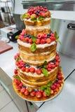 Wedding cake with fruit Royalty Free Stock Images