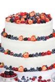 Wedding cake with fruits on white background Stock Image