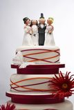 Wedding Cake with Funny Figurines Stock Photos