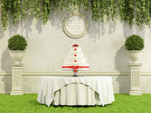 Wedding cake in a garden Stock Photography
