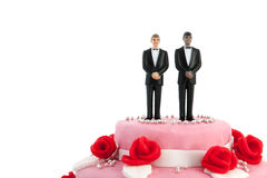 Wedding cake with gay couple Royalty Free Stock Photo