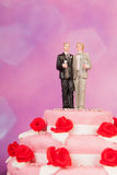 Wedding cake with gay couple Royalty Free Stock Photography