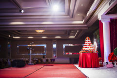 Wedding cake in a hall Stock Photo