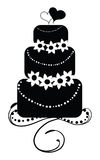 Wedding Cake with Hearts. Drawing of round wedding cake with hearts on top Stock Photography