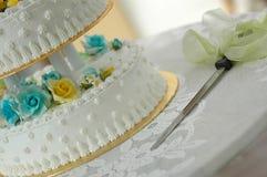 Wedding cake II. Wedding cake with knife stock image