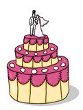 Wedding cake illustration. Wedding cake cartoon; Three tiers wedding cake with bride and groom on top Stock Photo