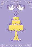 Wedding cake illustration. An illustration of a wedding cake with two doves Stock Images