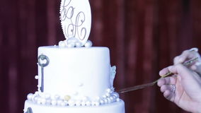 Wedding cake with initials stock video footage