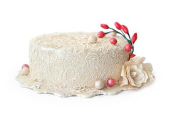 Wedding cake isolated on white background. Royalty Free Stock Photo