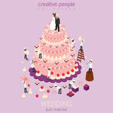 Wedding cake with just married on top and micro people around. Wedding cake cream tart micro just married couple groom bride bakers confectionery tools around Stock Photos