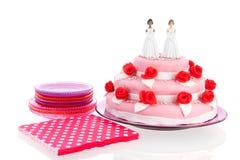 Wedding cake with lesbian couple Royalty Free Stock Image