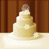 Wedding cake with lilies and sweet pearls Royalty Free Stock Photo
