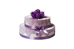 Wedding cake made of gift boxe Royalty Free Stock Image