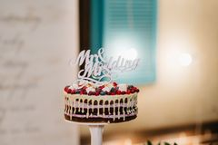 Wedding cake at the wedding on the table royalty free stock photo
