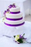 Wedding Cake with Orchids Royalty Free Stock Images