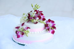 Wedding Cake with Orchids Stock Photo