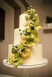 Wedding cake with orchids marzipan Royalty Free Stock Photos