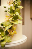 Wedding cake with orchids marzipan Royalty Free Stock Images