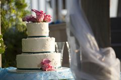 Wedding Cake Outdoors at Reception stock image