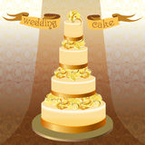 Wedding cake with peacock feathers. Golden yellow high design. Royalty Free Stock Photo