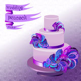 Wedding cake with peacock feathers. Violet purple design. Stock Photos