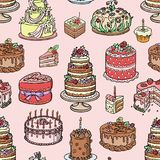 Wedding cake pie hand drawn style sweets dessert bakery ceremony delicious vector seamless pattern background. Wedding cake pie hand drawn style sweets dessert Stock Photo