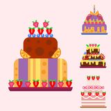 Wedding cake pie hand drawn style sweets dessert bakery ceremony delicious vector illustration. Fresh tasty dessert sweet pastry pie. Gourmet homemade Stock Photo