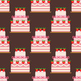 Wedding cake pie sweets dessert bakery flat seamless pattern pastry homemade delicious vector illustration. Wedding cake pie sweets dessert bakery flat seamless Royalty Free Stock Image