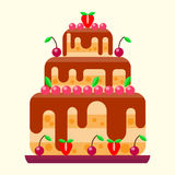 Wedding cake pie sweets dessert bakery flat simple style pastry homemade delicious vector illustration. Royalty Free Stock Images