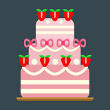 Wedding cake pie sweets dessert bakery flat simple style pastry homemade delicious vector illustration. Royalty Free Stock Photography