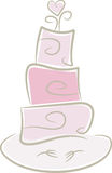 Wedding Cake in pink. Cute illustration of a wedding cake in pastel pink colors decorated with heart (+ forks Stock Images