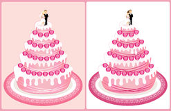 Wedding cake. Pink wedding cake decorated with roses on pink background and isolated on white background Stock Images