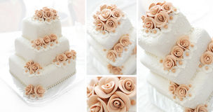 Wedding cake with pink flowers Royalty Free Stock Image