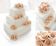 Wedding cake with pink flowers Royalty Free Stock Photos