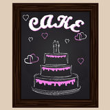 Wedding cake with pink hearts. Drawn in chalk Stock Images
