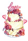 Wedding cake with pink roses, hearts and word Love on top. Hand painted watercolor illustration isolated on white Vector Illustration