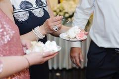 Wedding Cake on Plates Stock Photos