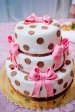 Wedding cake polka dot with bow Stock Photography