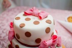 Wedding cake polka dot with bow Stock Image