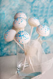 Wedding cake pops in white and soft blue. Royalty Free Stock Photo