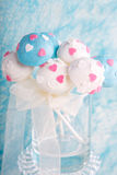 Wedding cake pops in white and soft blue. Stock Images