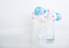 Wedding cake pops in white and soft blue. Royalty Free Stock Photos