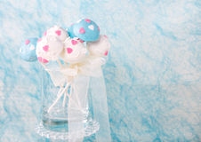 Wedding cake pops in white and soft blue. Royalty Free Stock Image