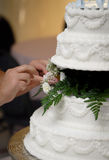 Wedding Cake Preparation. Baker sets up wedding cake in reception hall prior to wedding dinner Stock Image