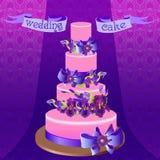 Wedding cake with purple iris flower design. Vector illustration. Stock Images