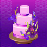 Wedding cake with purple iris flower design. Vector illustration. Stock Photos
